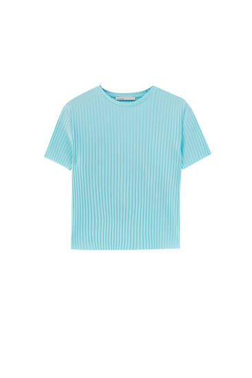 Basic wide ribbed short T-shirt