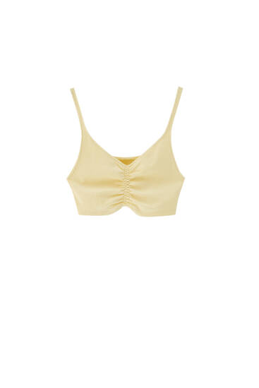 Strappy top with gathered detail - Contains recycled cotton