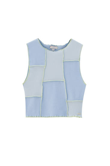 Patchwork top with contrast seams