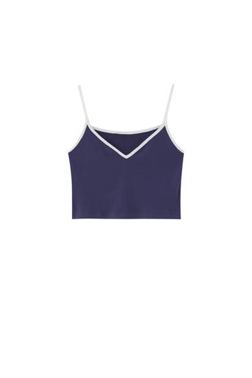 Navy blue strappy crop top