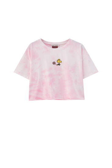 Pink tie-dye Snoopy T-shirt - At least 50% ecologically grown cotton