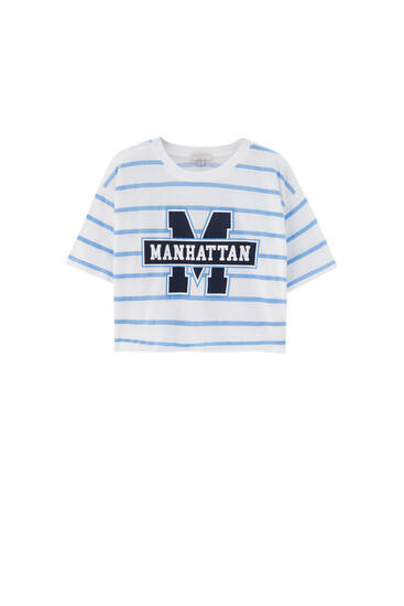 Manhattan striped cropped T-shirt - ecologically grown cotton (at least 50%)