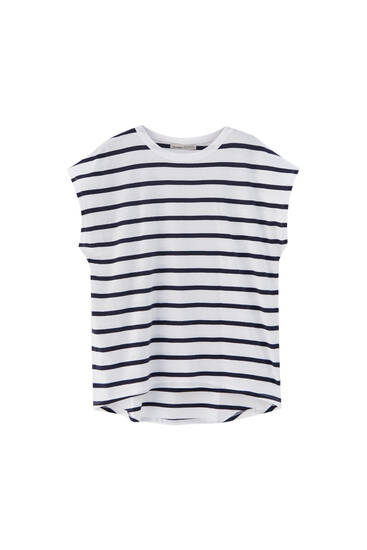Striped T-shirt with asymmetric hem