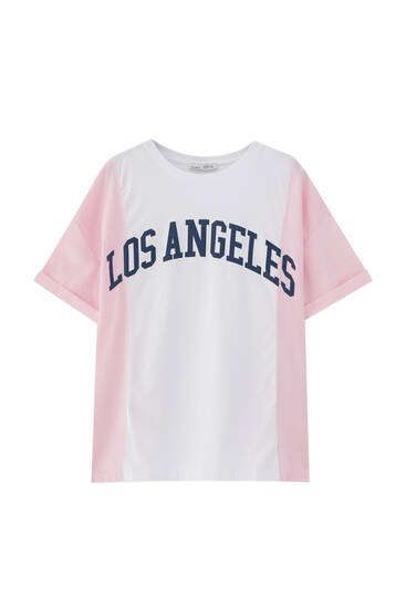 Pink striped slogan T-shirt