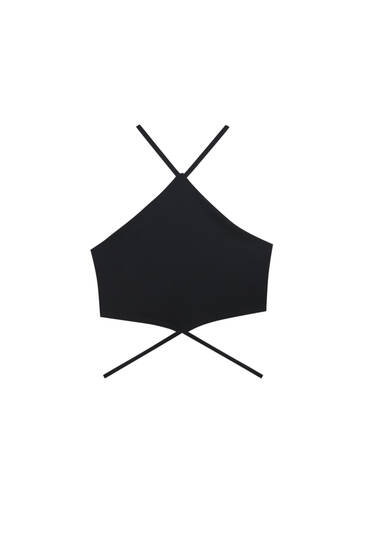Black crop top with straps - Contains recycled polyester