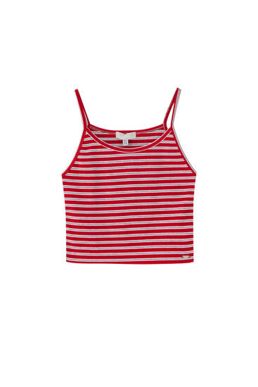 Strappy top with horizontal stripes