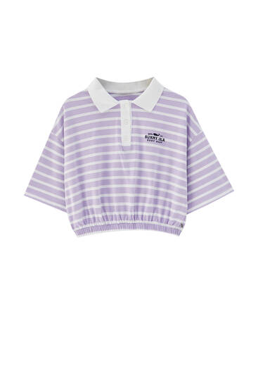 Violet striped cropped polo shirt