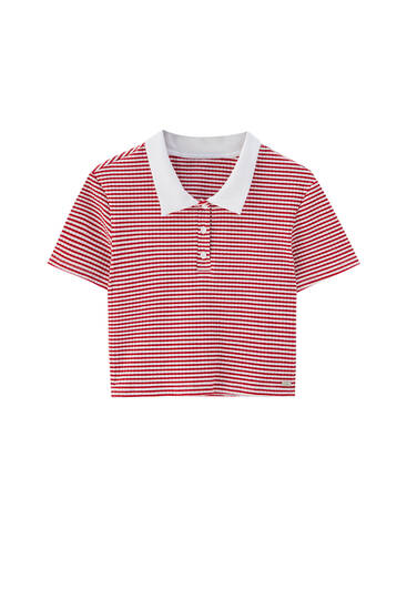 Red striped cropped polo shirt