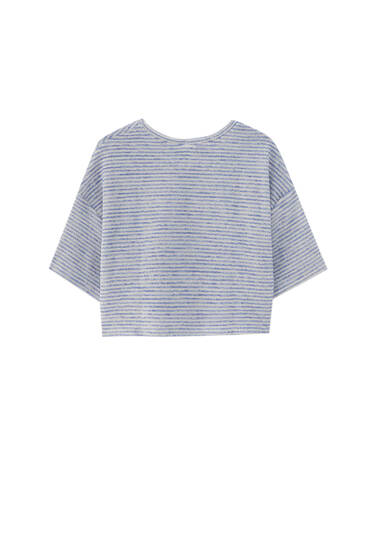 Striped towel fabric T-shirt
