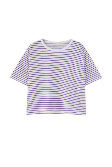 Striped T-shirt with contrast neck - ecologically grown cotton (at least 50%)