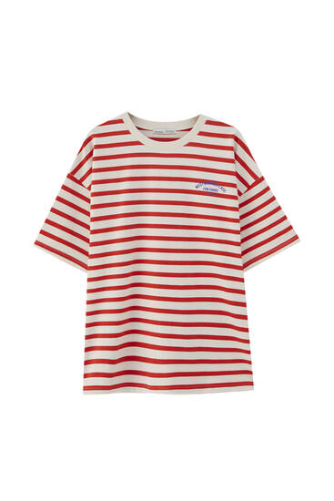 Striped T-shirt with chest slogan