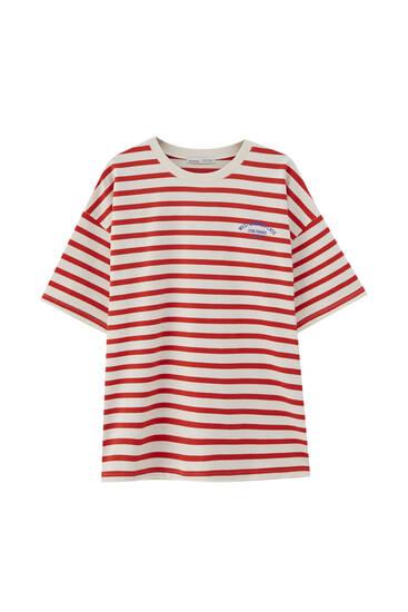 Camiseta rayas texto pecho