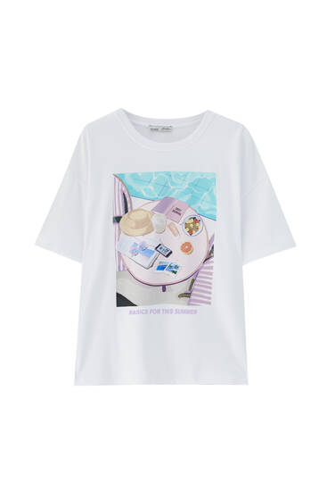 White T-shirt with swimming pool illustration