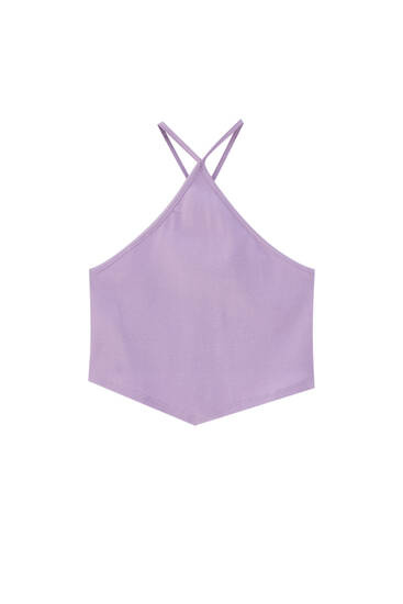Halter crop top with V-neck detail