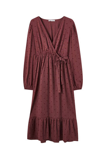 Long embroidered maroon dress
