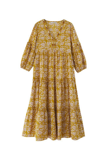 Mustard yellow embroidered midi dress