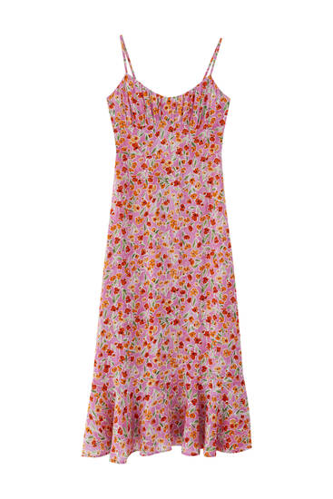 Printed strappy long dress