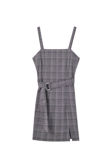 Grey check dress with belt