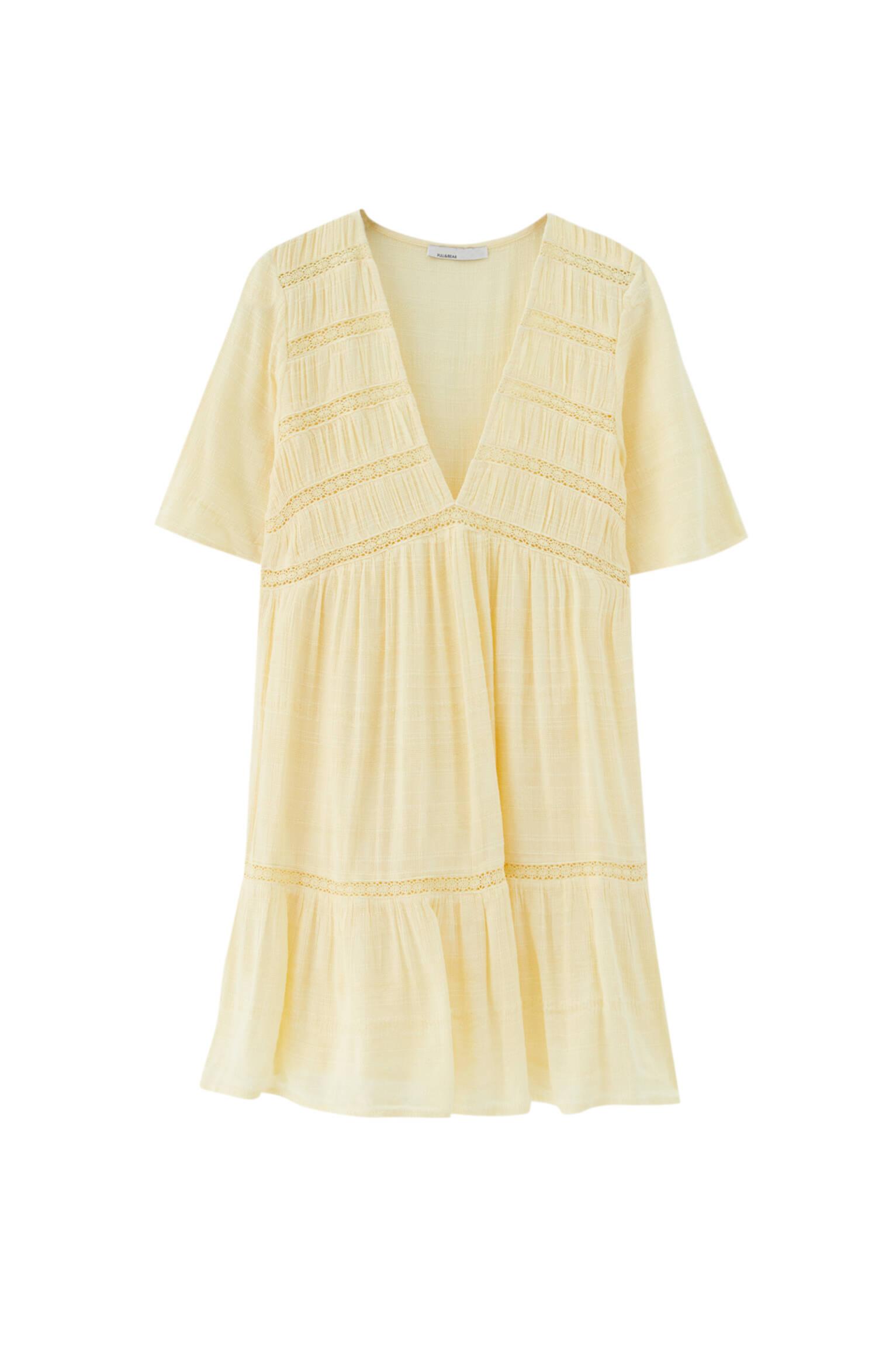 Желтый Мини-платье из струящейся ткани в стиле рустик Pull & Bear