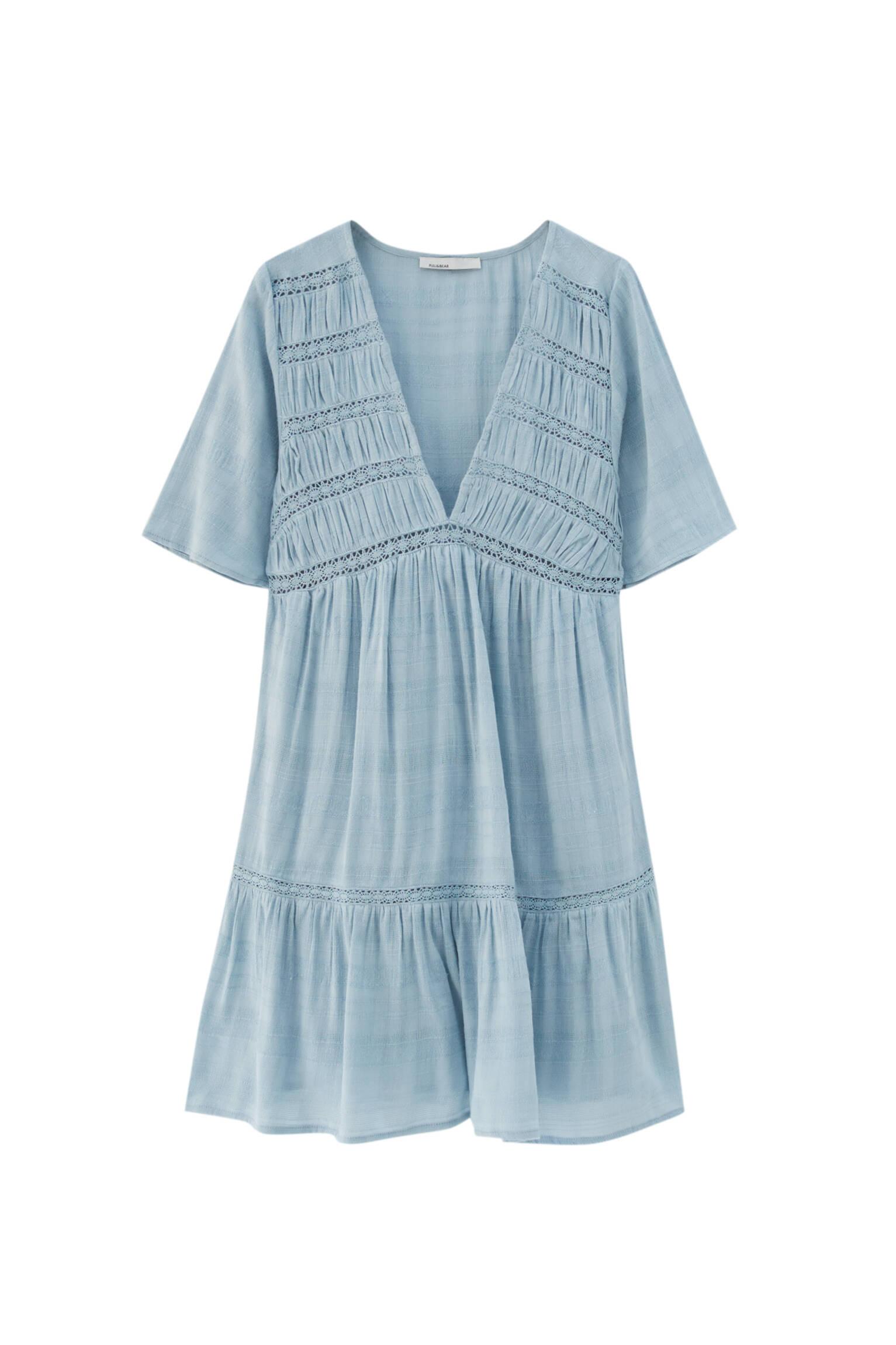 ГОЛУБОЙ Мини-платье из струящейся ткани в стиле рустик Pull & Bear