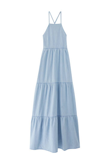Long denim dress - ecologically grown cotton (at least 50%)