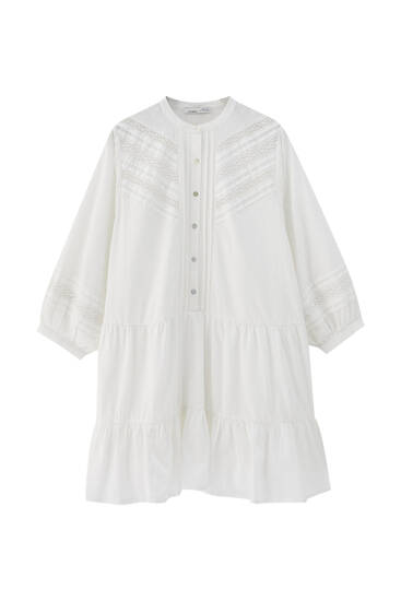 White shirt dress with lace trim detail