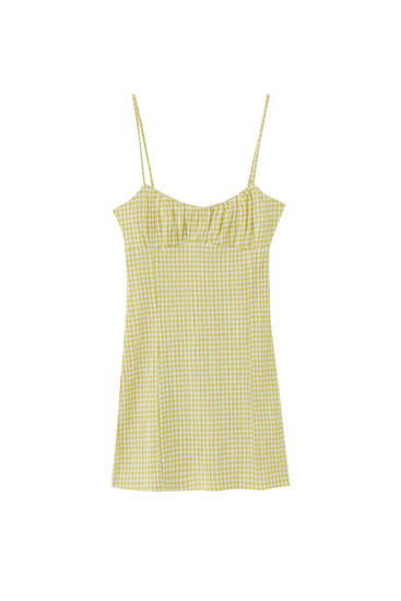 Gingham ruched mini dress