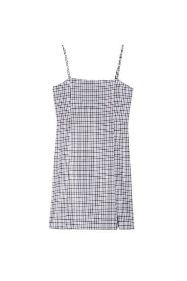 Strappy check mini dress