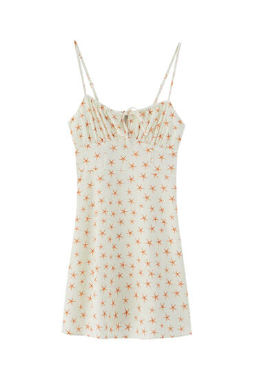 Star print strappy mini dress