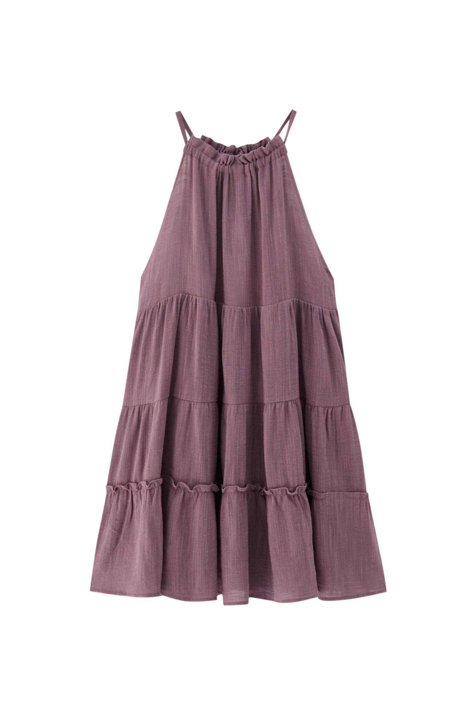 СИРЕНЕВЫЙ Платье мини с вырезом халтер Pull & Bear