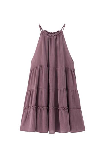 Halter neck mini dress with panels
