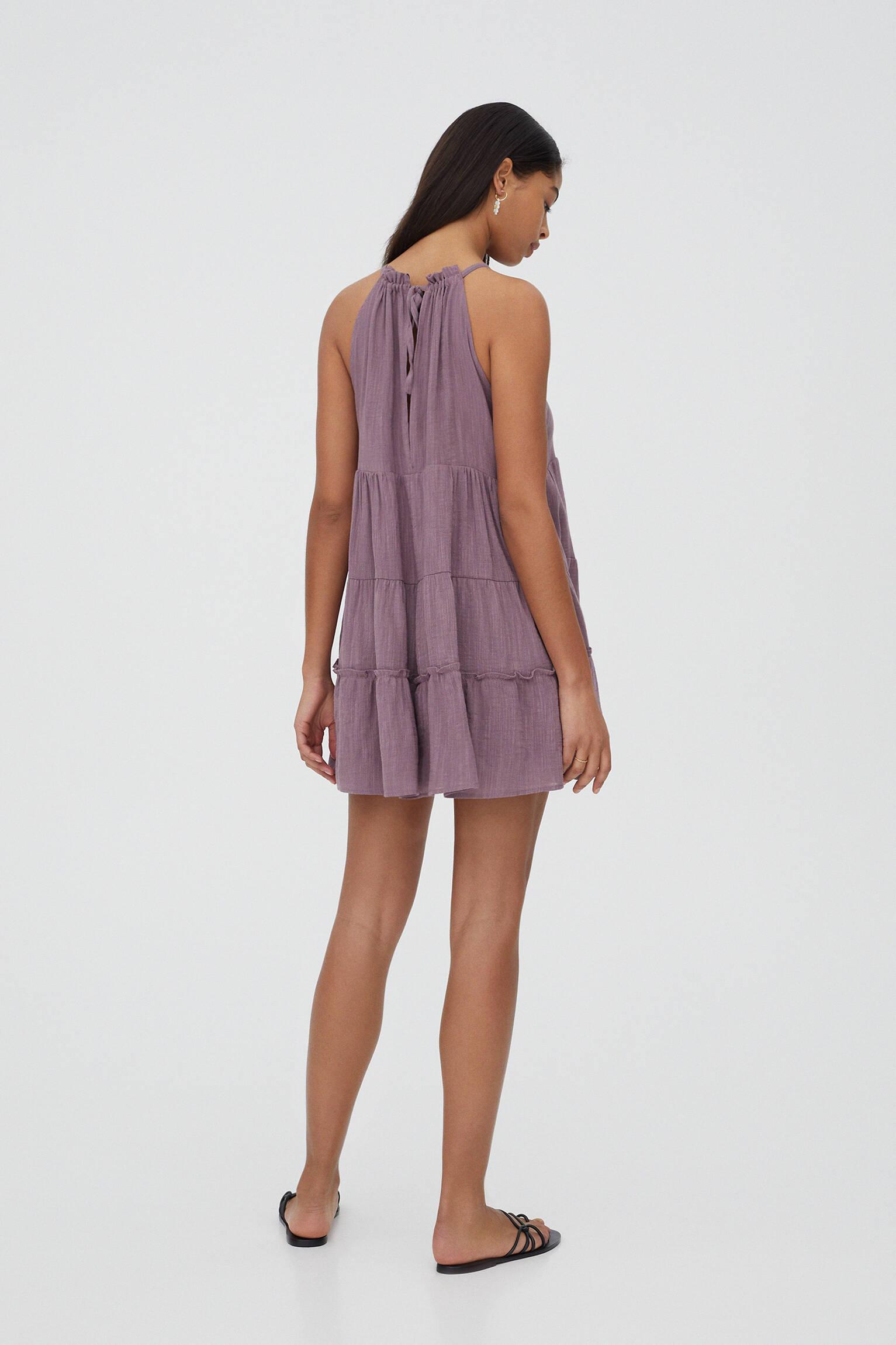Платье мини с вырезом халтер СИРЕНЕВЫЙ Pull & Bear