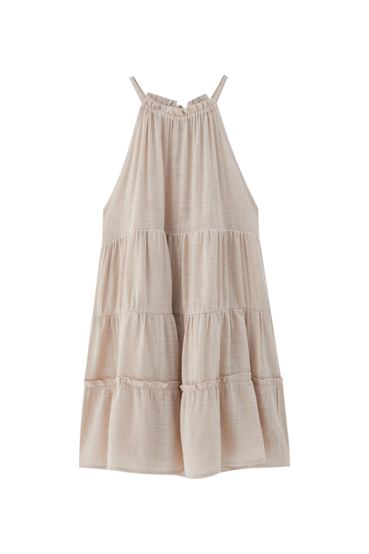 НАТУРАЛЬНЫЙ Платье мини с вырезом халтер Pull & Bear