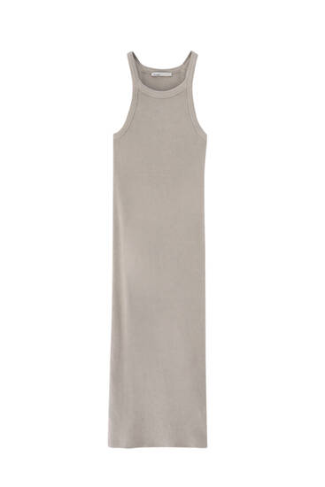 Ribbed halterneck midi dress