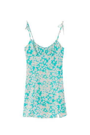 Mini haljina s uzorkom i naramenicama – ECOVEROTM viskoza (barem 50%)