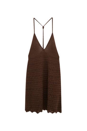 Strappy crochet mini dress