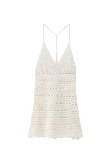 Heklana mini haljina s naramenicama