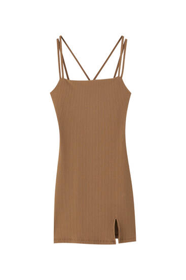 Brown ribbed dress with straps