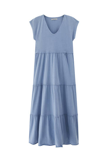 Midi dress with seam details