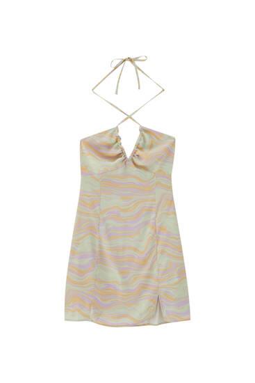 Mini dress with retro wavy print