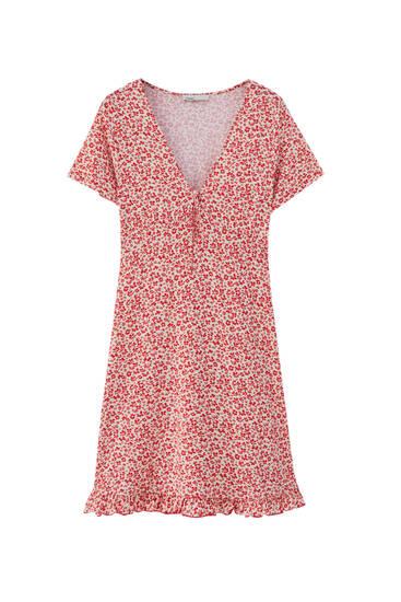 Mini dress with ruffled hem