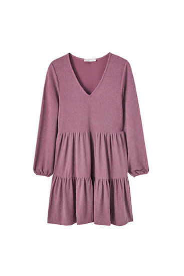 Mini dress with horizontal seams