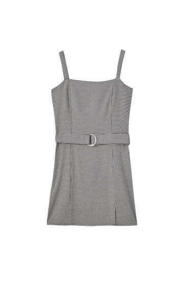 Strappy houndstooth mini dress