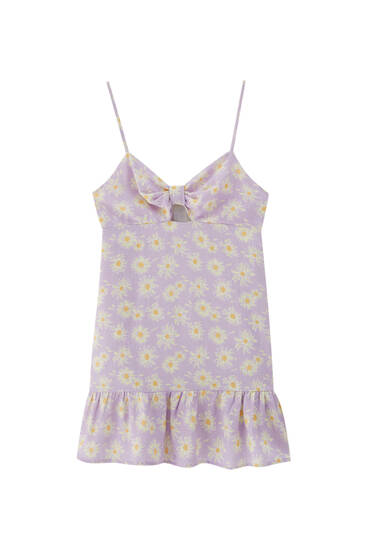 Printed short dress with cut-out detail