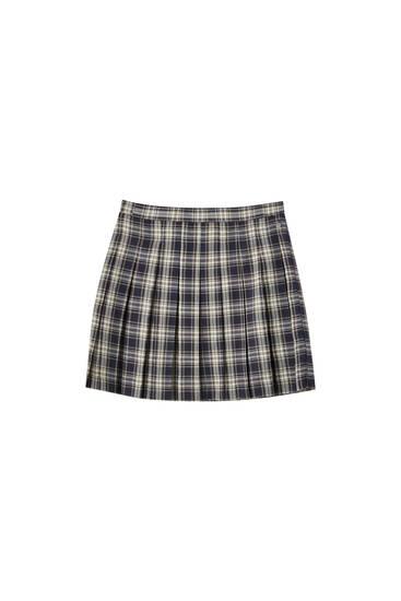 Minifalda cuadros plisado