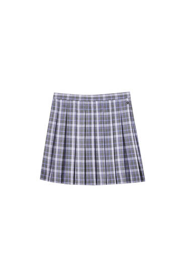 Checked mini skirt with box pleats