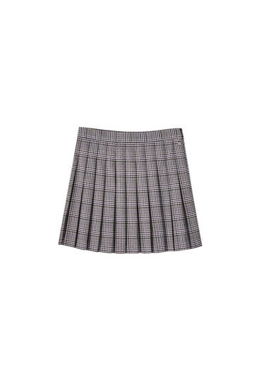 Faded-effect checked mini skirt with box pleats