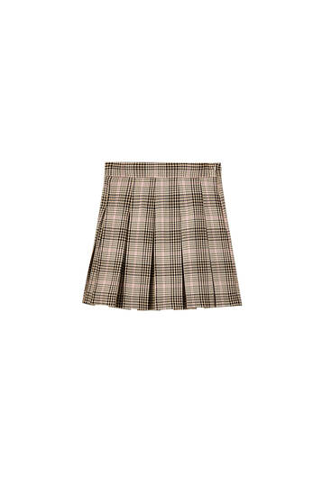 Checked box pleat mini skirt
