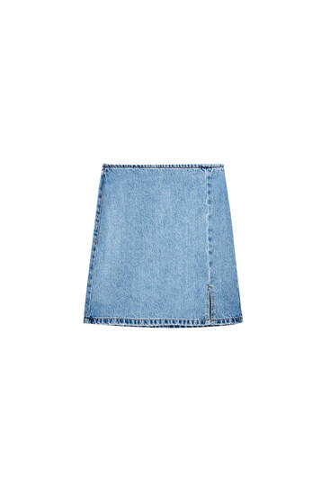 Denim mini skirt with front slit detail