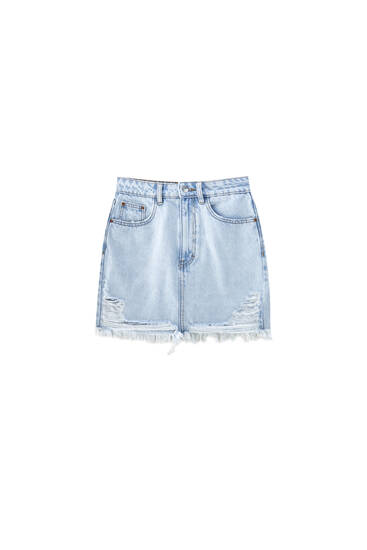 Denim mini skirt with ripped hem